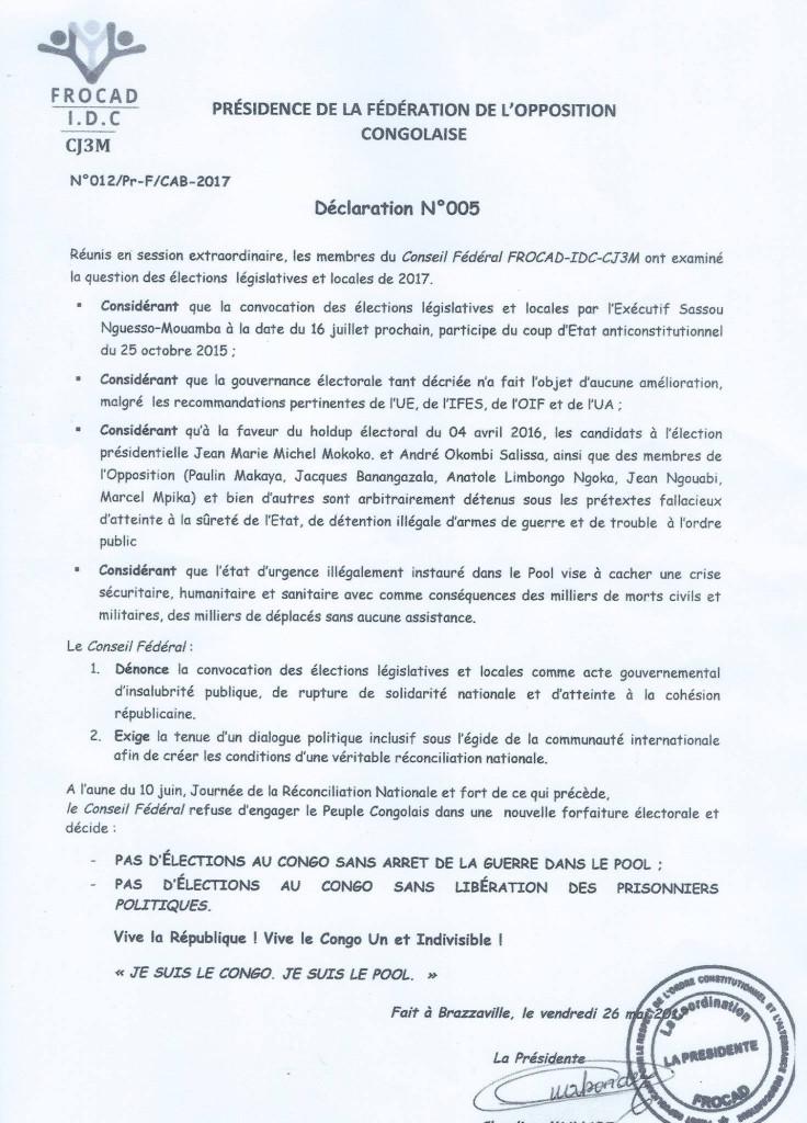 Déclaration du Frocad-IDC-J3M mai 2017